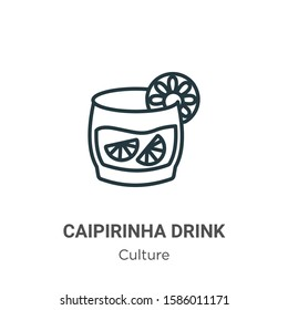 Caipirinha drink glass of brazil outline vector icon. Thin line black caipirinha drink glass of brazil icon, flat vector simple element illustration from editable culture concept isolated on white