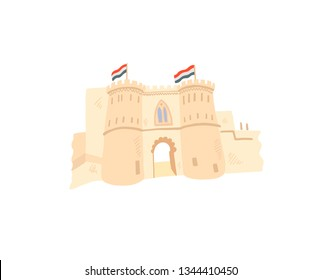 cairo citadel hand drawing icon in minimalistic style, Egypt, Giza, vector illustration