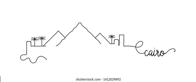 Cairo City Skyline Doodle Sign