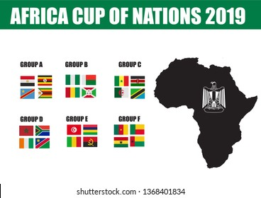 Cairo/ Egypt- 14th april 2019: Africa cup of nations 2019 flags and timeline - vector