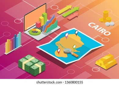 cairo egypt city isometric financial economy condition concept for describe cities growth expand - vector illustration