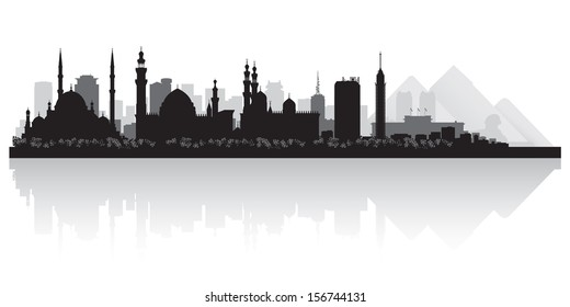 Cairo Egypt city skyline silhouette vector illustration