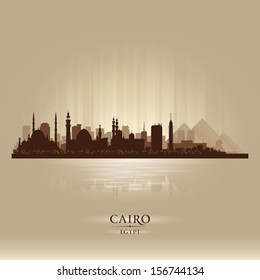 Cairo Egypt city skyline silhouette. Vector illustration