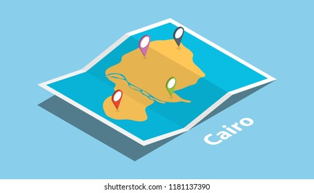 cairo egypt explore maps location with folded map and pin location maker destination in isometric style