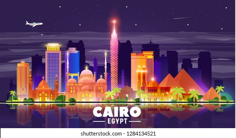 Cairo (Egypt) night skyline at sky background. Flat vector illustration. Business travel and tourism concept with modern buildings. Image for banner or web site.