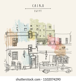 Cairo, Egypt, North Africa. A man selling hookahs in front of his house in old town. A pickup car parked. Travel poster, postcard, book illustration. Artistic hand drawing in vector