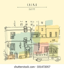 Cairo, Egypt, North Africa. A man selling hookahs in front of his house in old town. A pickup car parked. Travel poster or postcard in vector. Artistic hand drawing, lettering. Colorful template