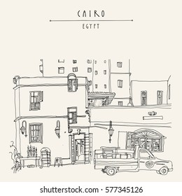 Cairo, Egypt, North Africa. A man selling hookahs in front of his house in old town. A pickup car parked. Travel poster, postcard or coloring book page. Artistic hand drawing, lettering