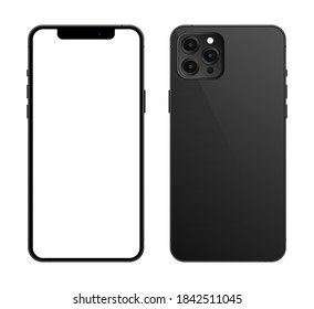 Cairo / Egypt - October, 28, 2020: Black iphone 12 pro mockup, Smartphone mockup with white screen, mobile phone mockup