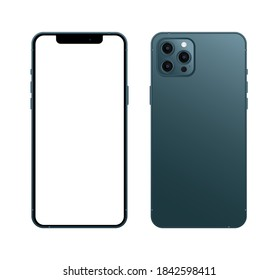 Cairo / Egypt - October, 28, 2020: blue iphone 12 pro mockup, Smartphone mockup with white screen, iphone vector, device mockup