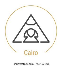 Cairo (Egypt) outline icon with caption. Cairo City logo, landmark, vector symbol. Sphinx and the Great Pyramid of Giza. Illustration of Cairo isolated on white background.