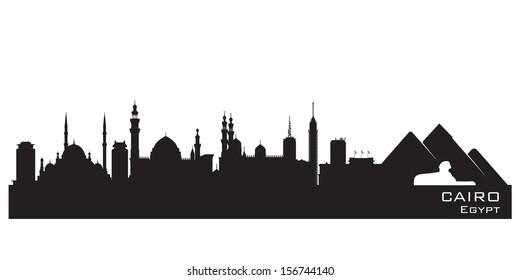 Cairo Egypt skyline Detailed silhouette Vector illustration