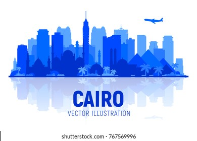 Cairo (Egypt) skyline silhouette on a white background. Flat vector illustration. Business travel and tourism concept with modern buildings. Image for banner or web site.