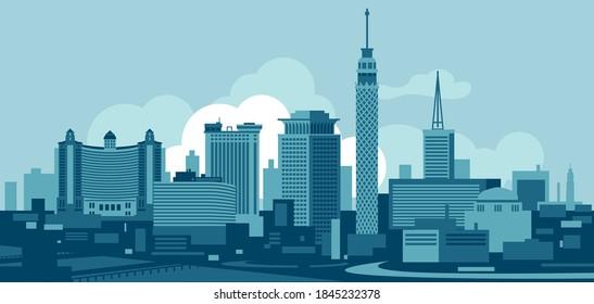 Cairo Egypt skyline vector illustration