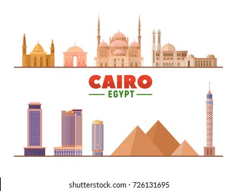 Cairo landmarks on a white background. Isolated objects. Flat vector illustration. Business travel and tourism concept with modern buildings. Image for banner or web site.