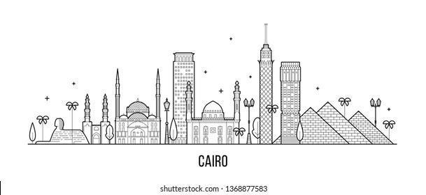 Cairo skyline, Egypt. This illustration represents the city with its most notable buildings. Vector is fully editable, every object is holistic and movable
