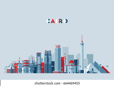 Cairo skyline, Egypt, vector illustration, flat design