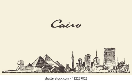 Cairo skyline, Egypt, vintage engraved illustration, hand drawn, sketch