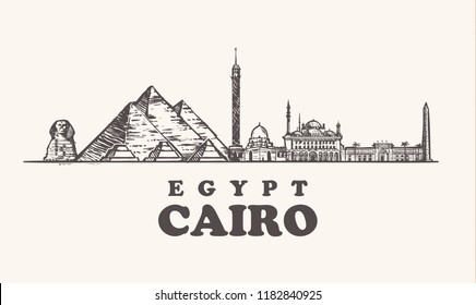 Cairo skyline, Egypt vintage vector illustration, hand drawn temples of Cairo city, on white background.