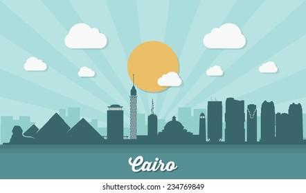 Cairo skyline - flat design - vector illustration