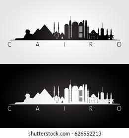 Cairo skyline and landmarks silhouette, black and white design, vector illustration.