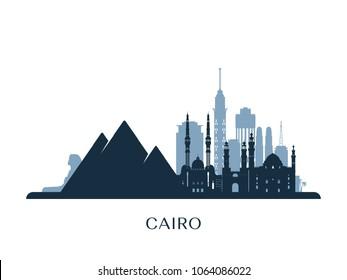 Cairo skyline, monochrome silhouette. Vector illustration.