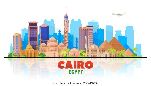 Cairo skyline on a white background. Flat vector illustration. Business travel and tourism concept with modern buildings. Image for banner or web site.