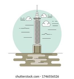 Cairo tower in Egypt line art illustration