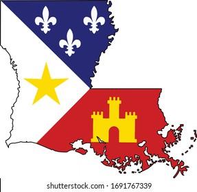 Cajun Flag Louisiana State Shape