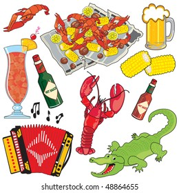 Cajun Food, Music and drinks clipart icons and elements