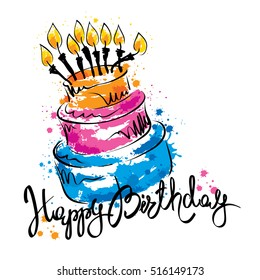 Cake ans Happy Birthday / Handwritten vector calligraphy with abstract cake