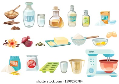 Cake  baking ingredient flour, butter, sugar,eggs objects vector illustration isolated on white