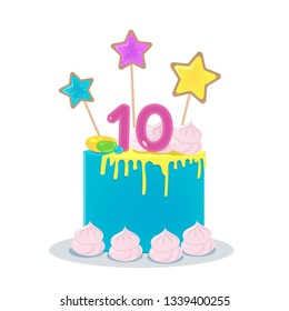 Remarkable 10Th Birthday Cake Images Stock Photos Vectors Shutterstock Birthday Cards Printable Nowaargucafe Filternl