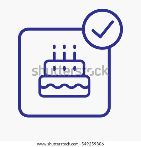 Cake Birthday Icon Outline Style Design Stock Vector Royalty Free