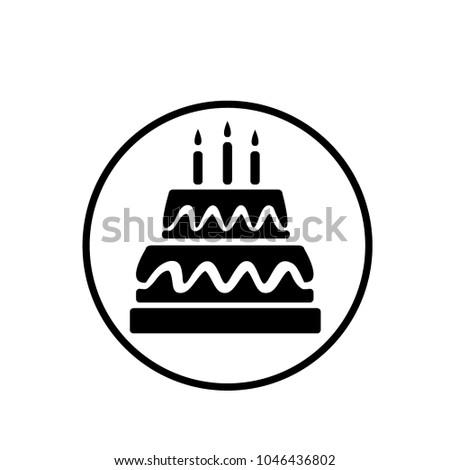 Cake Birthday Icon Template Stock Vector Royalty Free 1046436802
