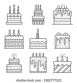 Cake birthday icons set. Outline set of cake birthday vector icons for web design isolated on white background