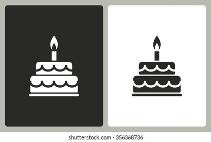 Cake  -  black and white icons. Vector illustration