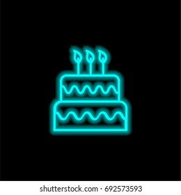Cake blue glowing neon ui ux icon. Glowing sign logo vector