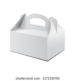 Cake Box. For Fast Food, Gift, etc. Carry Packaging. Vector Mockup. White Template of Cardboard package for your design