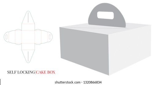 Cake Box with Handle Template, Vector with die cut / laser cut layers. Delivery Cake Box, Self lock Box. White, blank, clear, isolated Paperboard Box mock up on white background Packaging Design