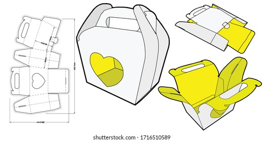Cake Box. Heart-Shaped Box, Packaging For Lovers Ideal For Chocolates Or Cupcakes. (Internal measurement 11x 8+ 8cm) and Die-cut Pattern. The .eps file is full scale and fully functional.