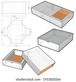 Cake Box (Internal measurement 18x10+4.5 cm) and Die-cut Pattern. The .eps file is full scale and fully functional. Prepared for real cardboard production.