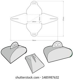 Cake Box (Internal measurement 22.5x 14+ 14cm) and Die-cut Pattern