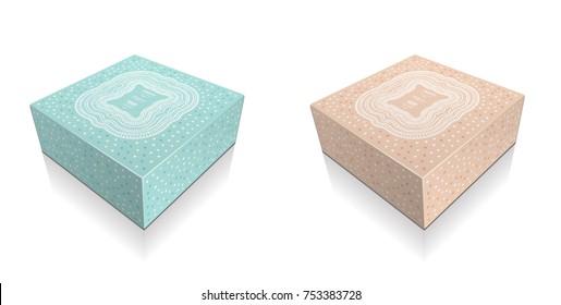 Cake Box Retro Christmas festive holiday celebration placement print pattern background packaging illustration 3d arabesque