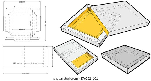 Cake Box Self Assembly and Die-cut Pattern. The .eps file is full scale and fully functional. Prepared for real cardboard production.