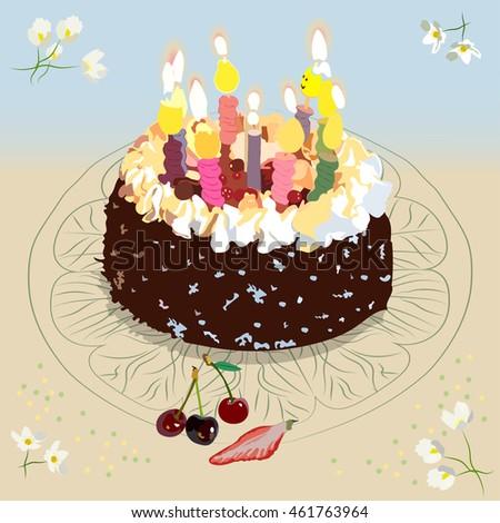 Cake With Burning Birthday Candles Cherries And Strawberry Anemone Flowers Decorative Napkin Under