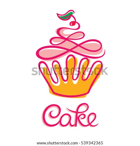 Cake Cafe Bakery Logo Design Cupcake Stock Vector Royalty Free