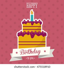 cake candle happy birthday celebration party icon. Colorful design. Pointed background. Vector illustration