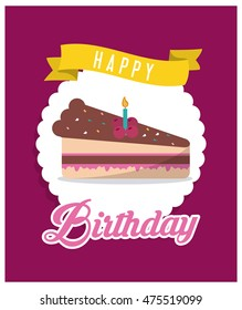 cake candle happy birthday celebration party icon. Colorful design. Vector illustration