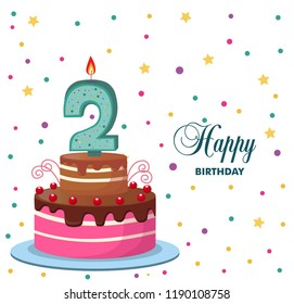 cake with a candle in the number two, congratulations on your birthday